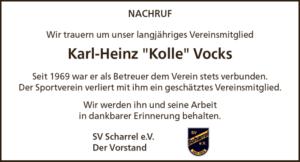 """SV Scharrel trauert um Karl-Heinz """"Kolle"""" Vocks"""