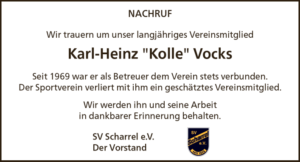 "Read more about the article SV Scharrel trauert um Karl-Heinz ""Kolle"" Vocks"